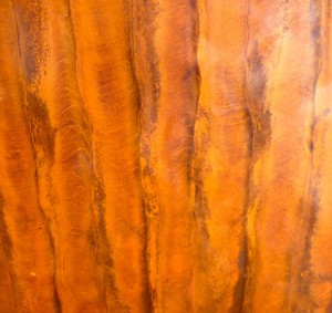 Detail patinaed copper