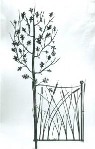 Oak Tree & cattails gate