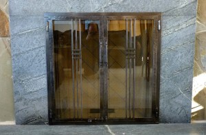 Glass fireplace doors