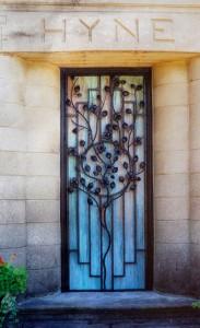 Dogwood and copper door