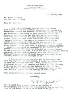 Cyril Stanley Smith letter